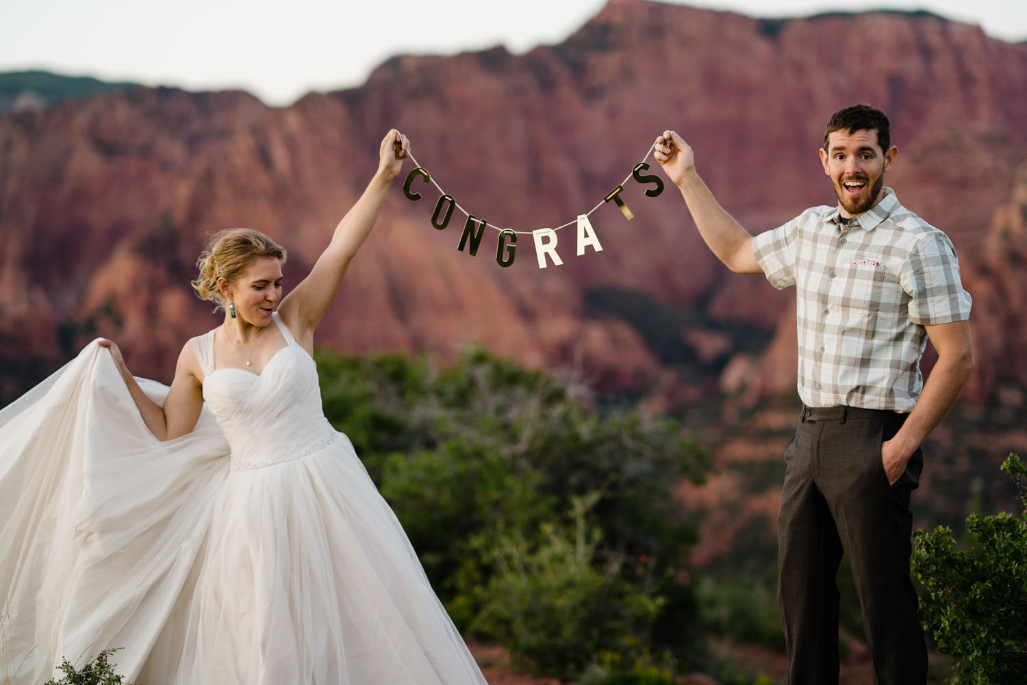 Kolob Canyons Wedding in Zion National Park congrats photo