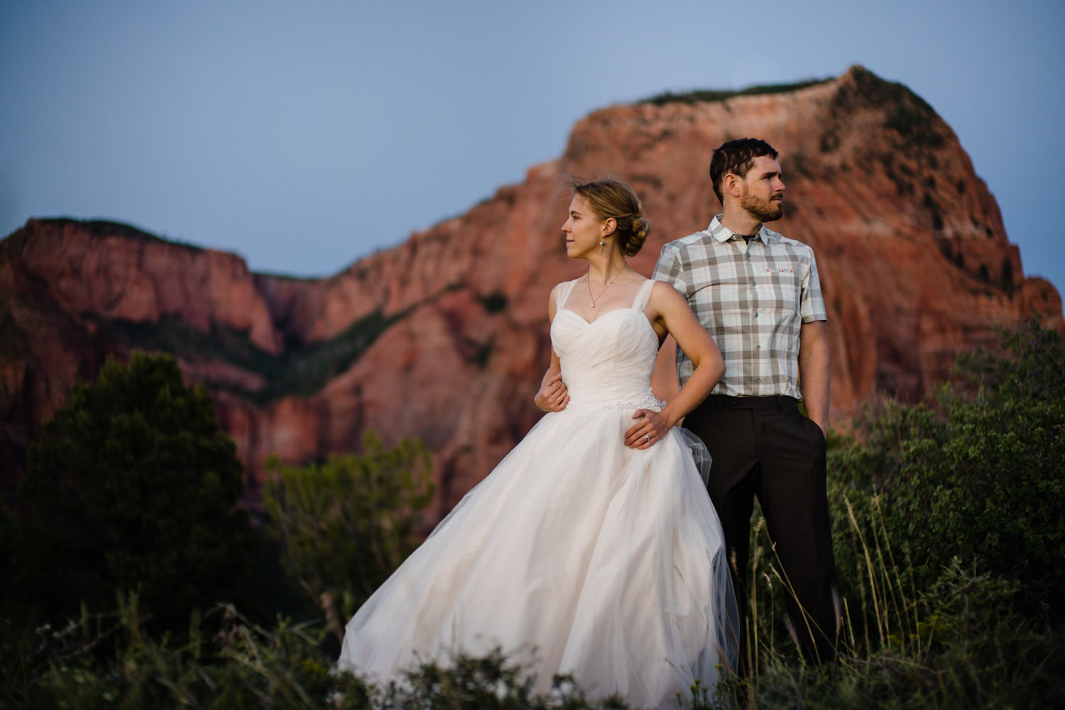 Kolob Canyons Wedding in Zion National Park newlyweds together photo