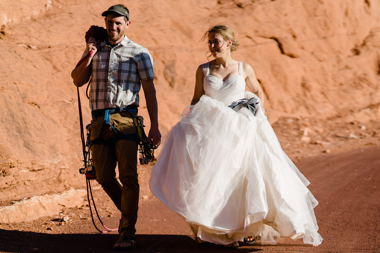 Kolob Canyons Wedding bride and groom walking photo