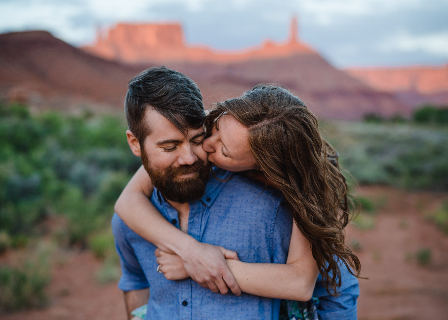 engagement session in Moab couple in Castle Valley photo
