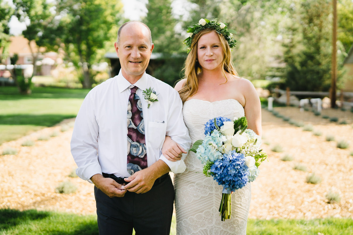 Spring Farm wedding bride with father and bouquet photo