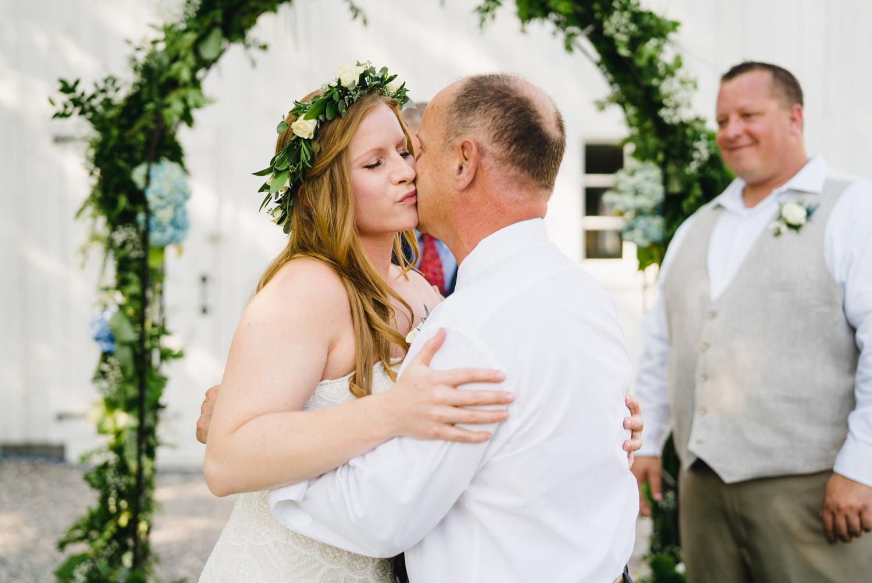 Spring Farm wedding father giving away daughter photo