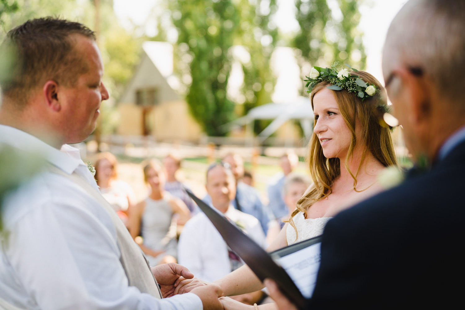 Spring Farm wedding intimate look during ceremony photo
