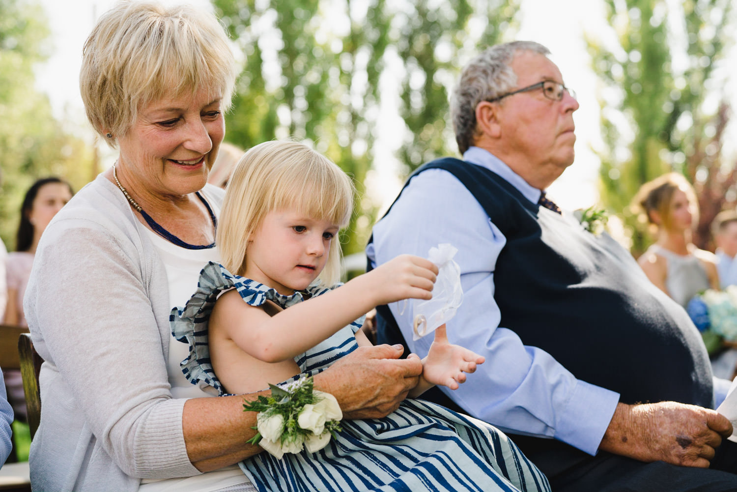 Spring Farm wedding guests with flower girl photo