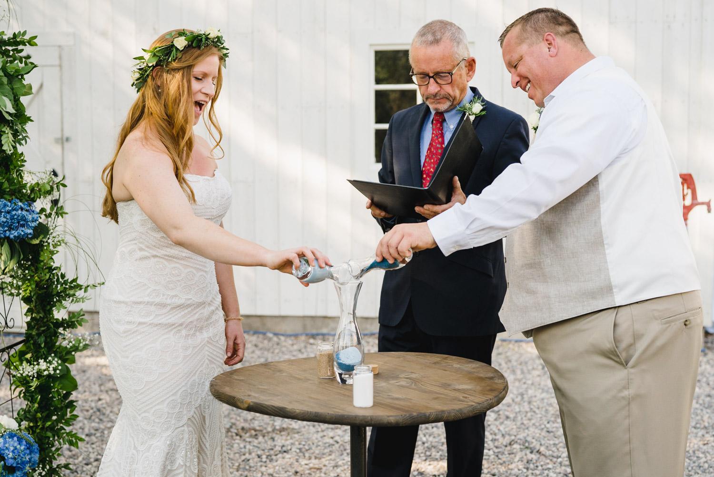 Spring Farm wedding bride and groom unity ceremony photo