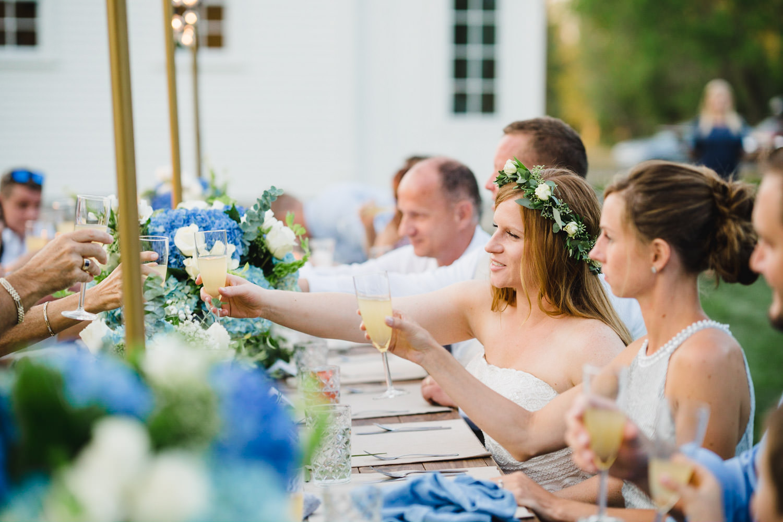 Spring Farm wedding bride raising her glass at reception photo
