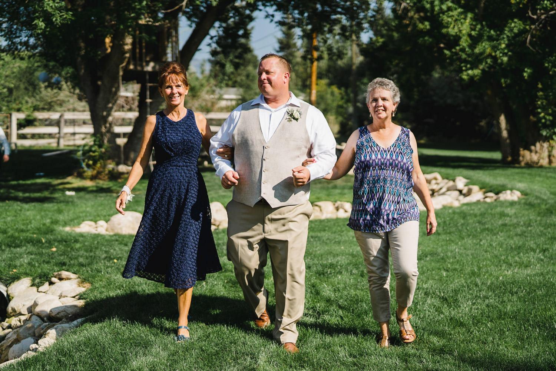 Spring Farm wedding groom entering ceremony photo