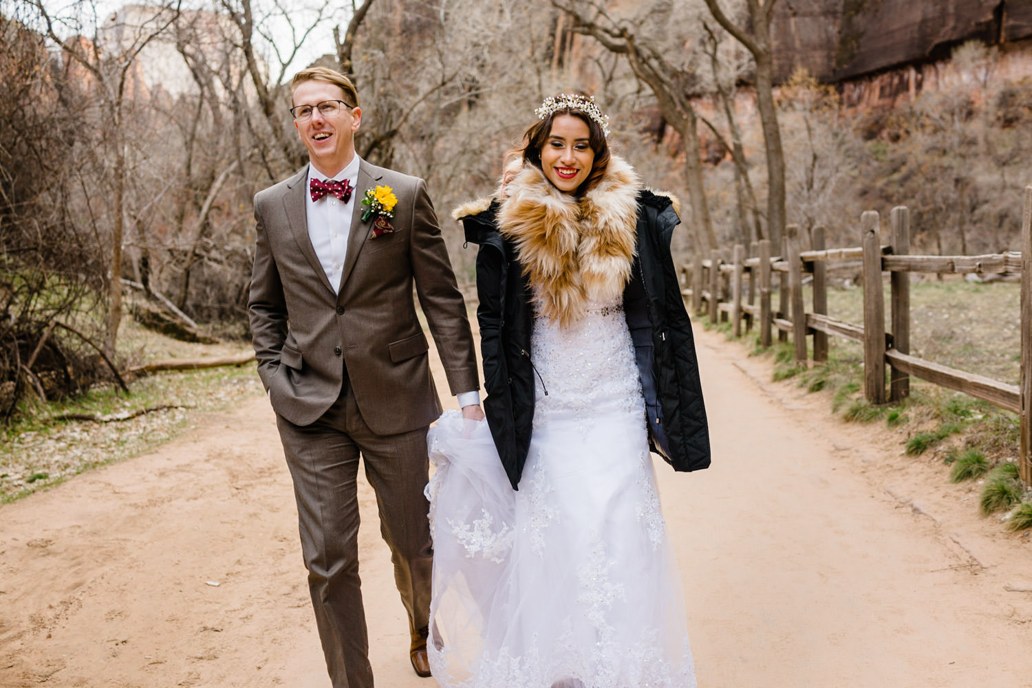 Temple of Sinawava wedding couple walking path in Zion photo