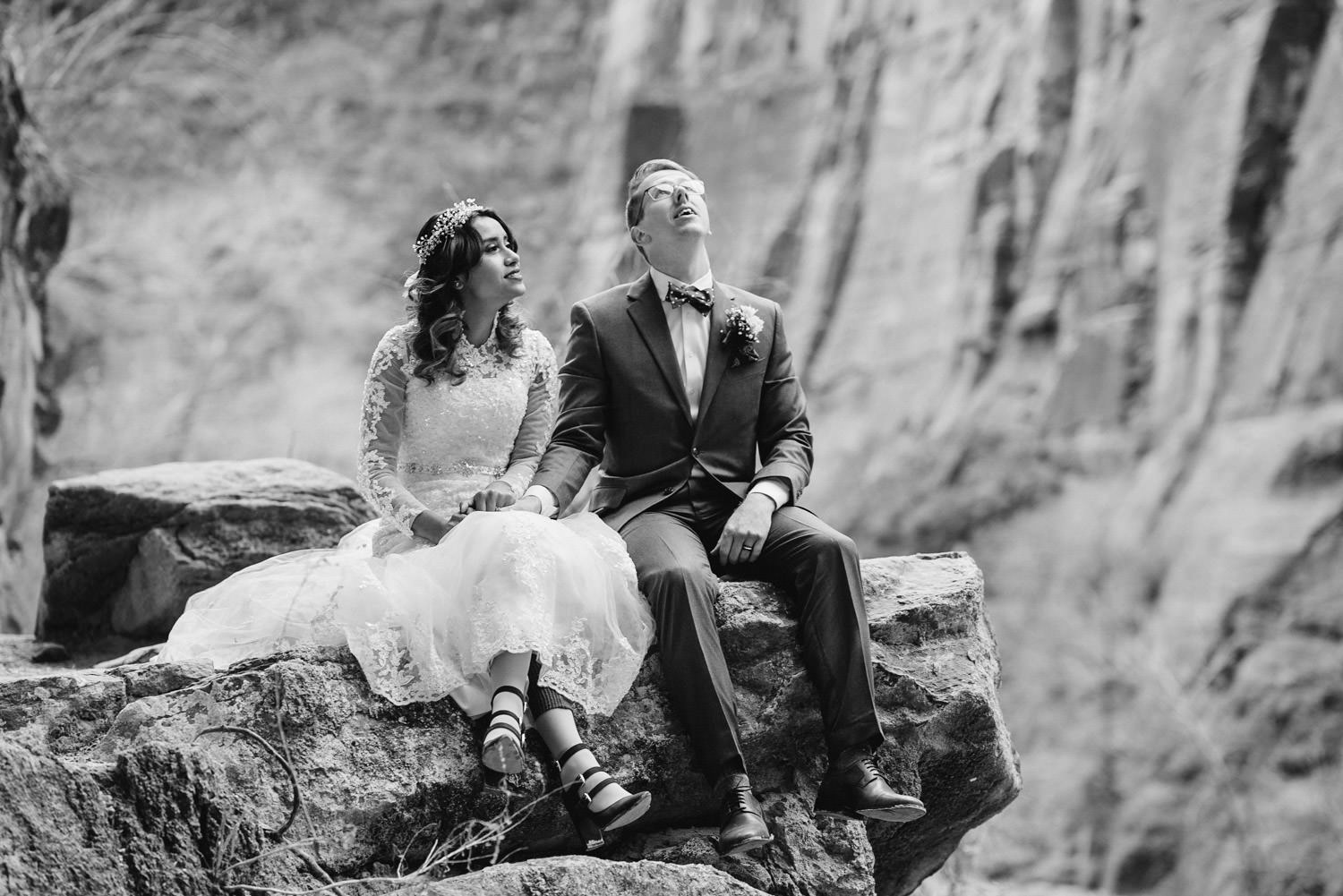 Temple of Sinawava wedding black and white couple on perch photo