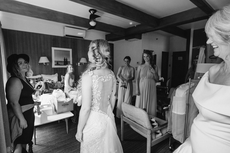 bride and bridal party before wedding alta wedding