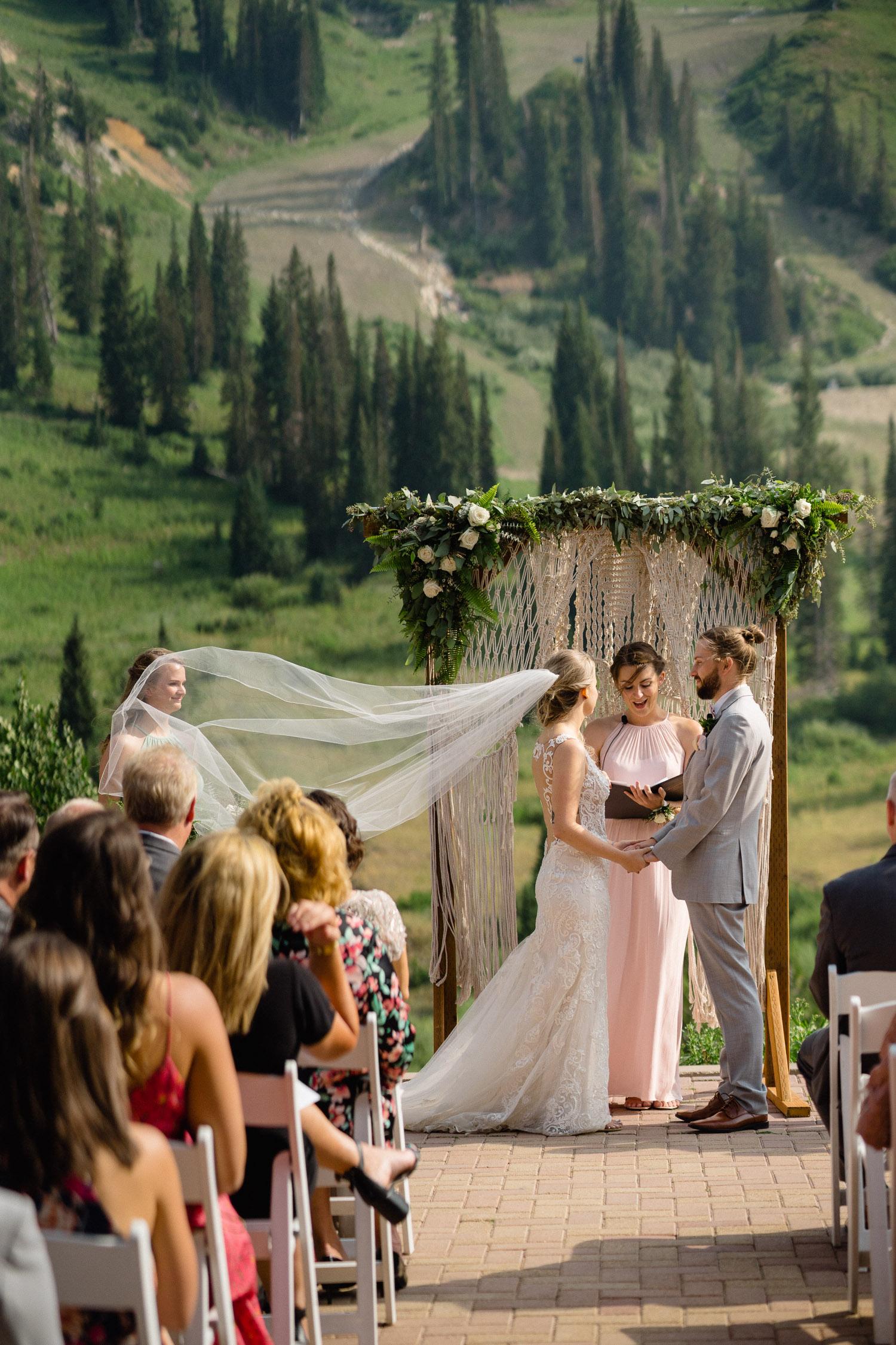 bride and groom at outdoor altar alta resort summer wedding
