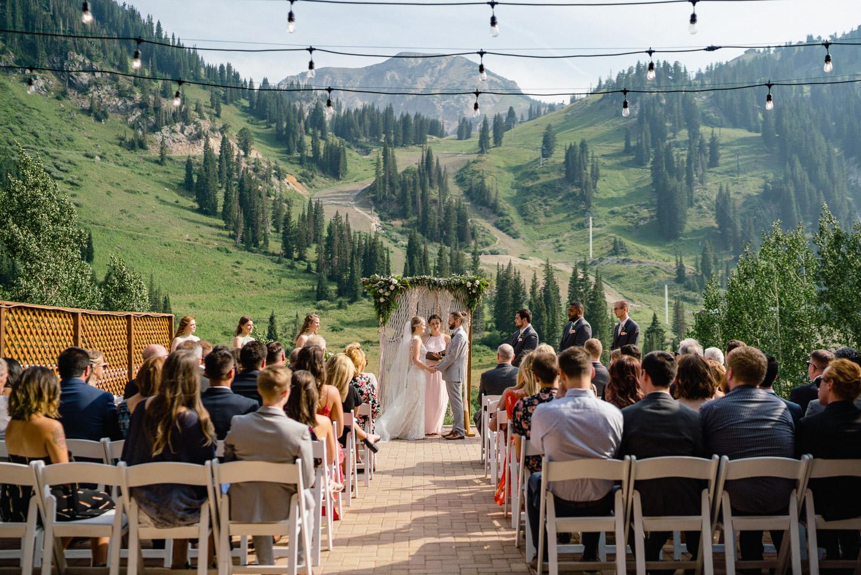 outdoor mountain wedding ceremony alta resort utah