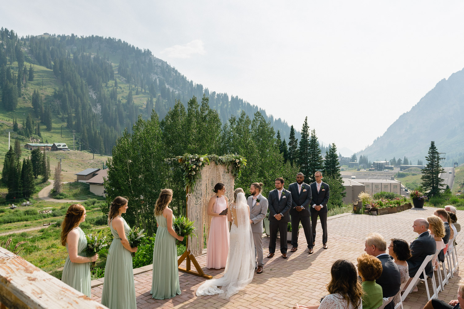 outdoor wedding ceremony wedding party and guests alta