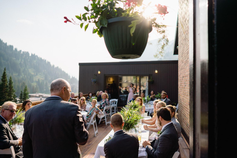 wedding guest on outdoor deck alta lodge