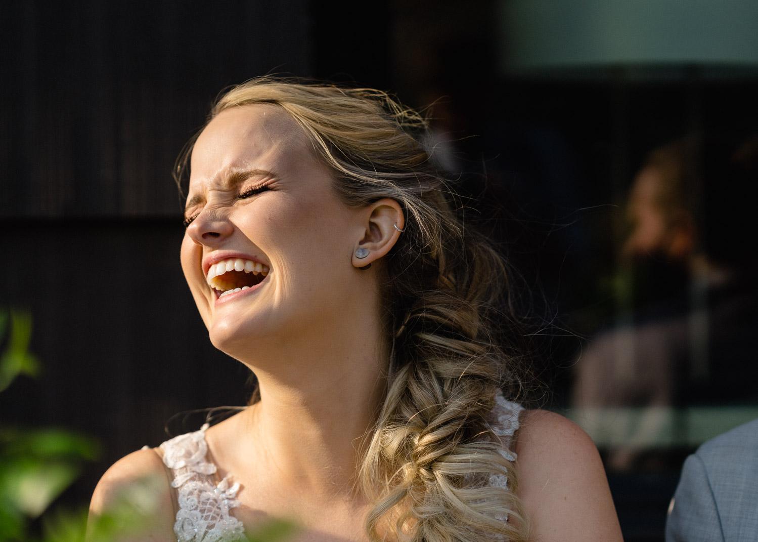 bride laughing alta resort wedding