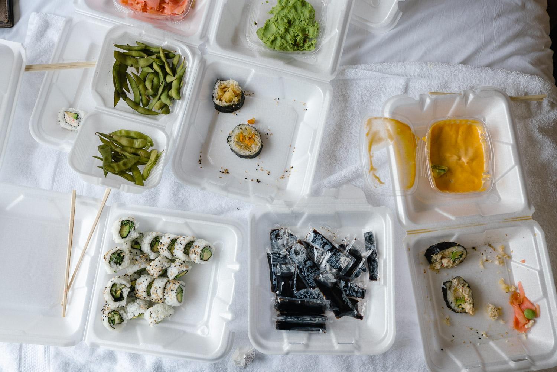sushi and snacks getting wedding ready