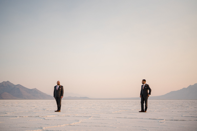 Salt Flats Elopement grooms