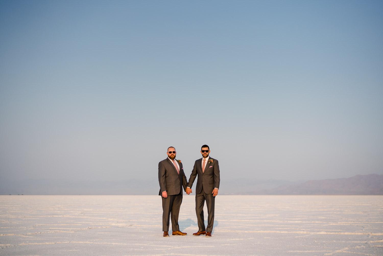 grooms in sunglasses salt flats
