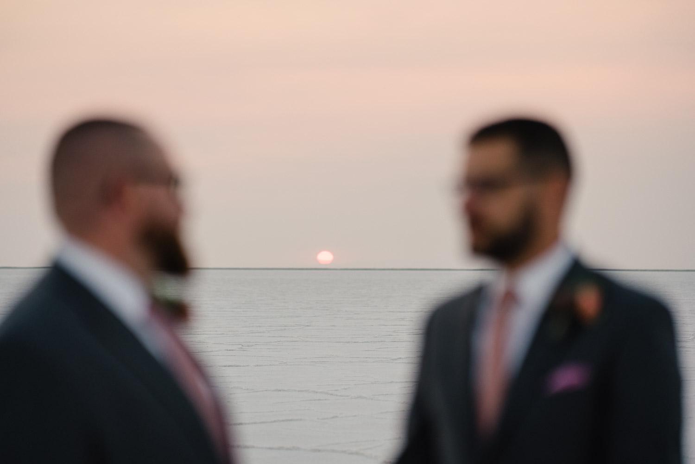 grooms and horizon salt flats