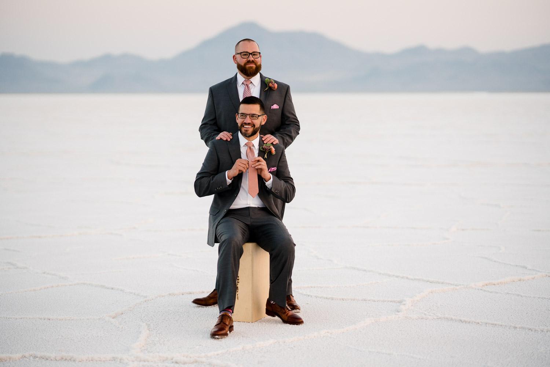 happy couple salt flats wedding