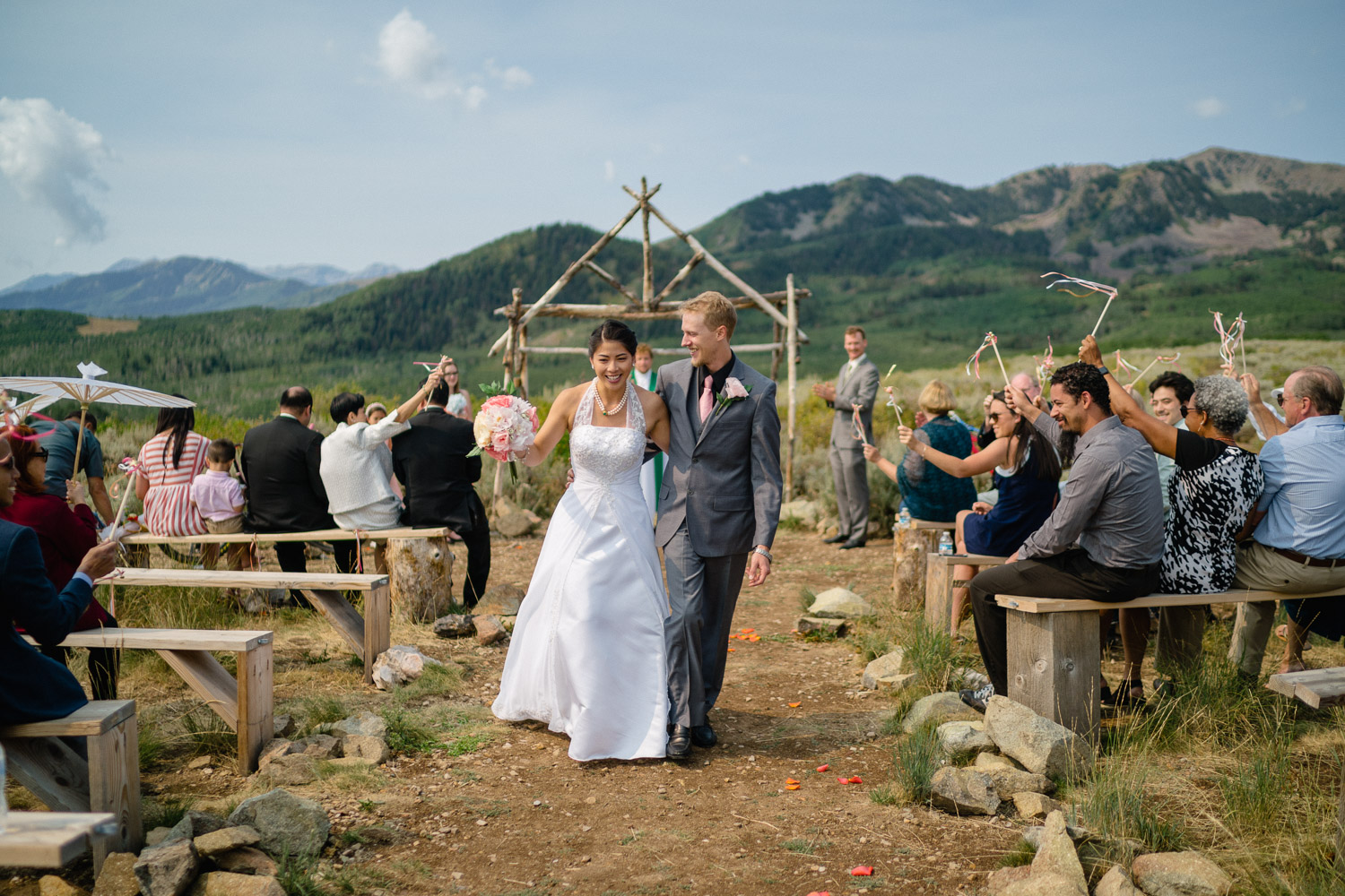 bride and groom recessional outside wedding
