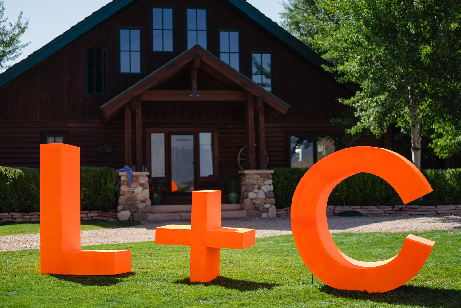 wedding yard decor letters of bride and groom house park city