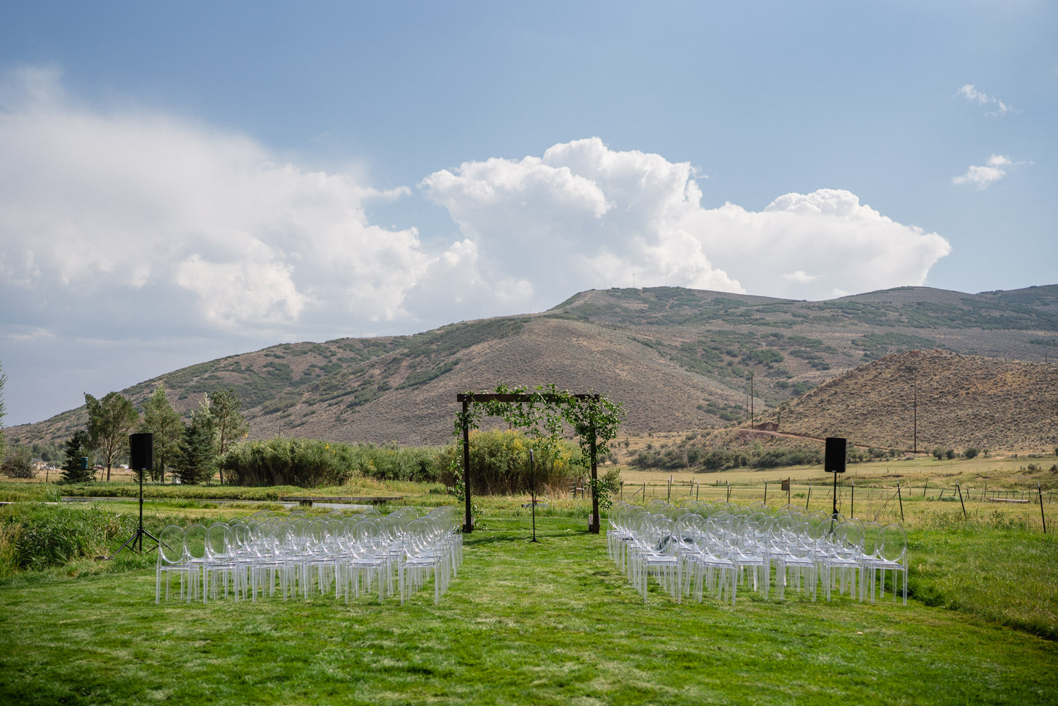 outdoor ceremony set up park city wedding