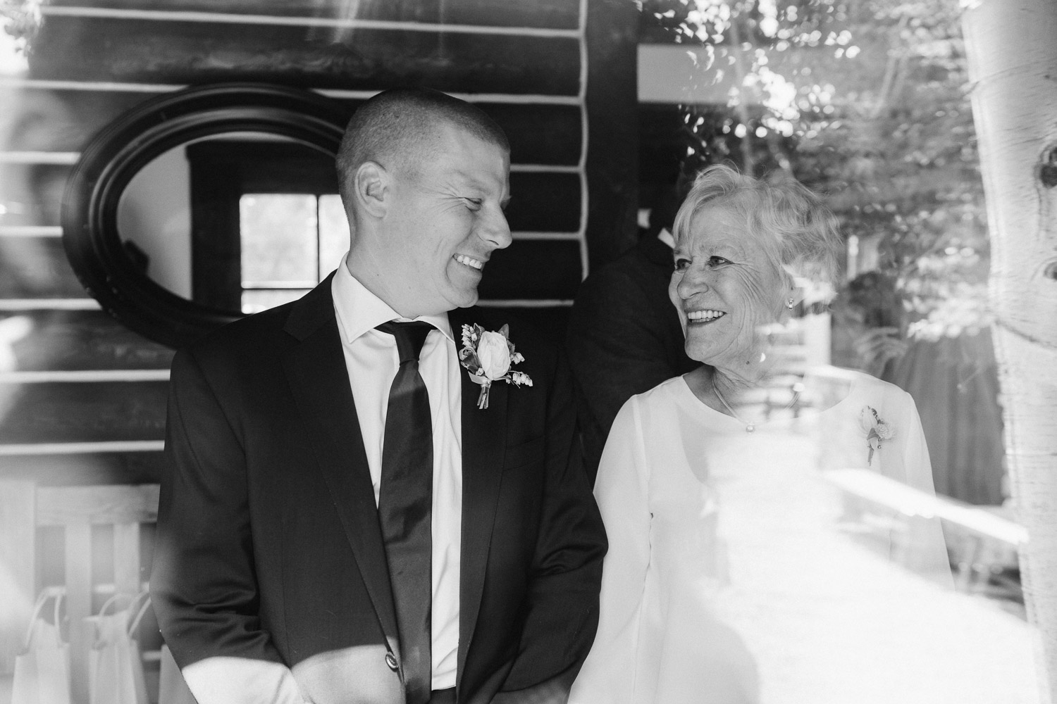 groom and mom black and white park city wedding