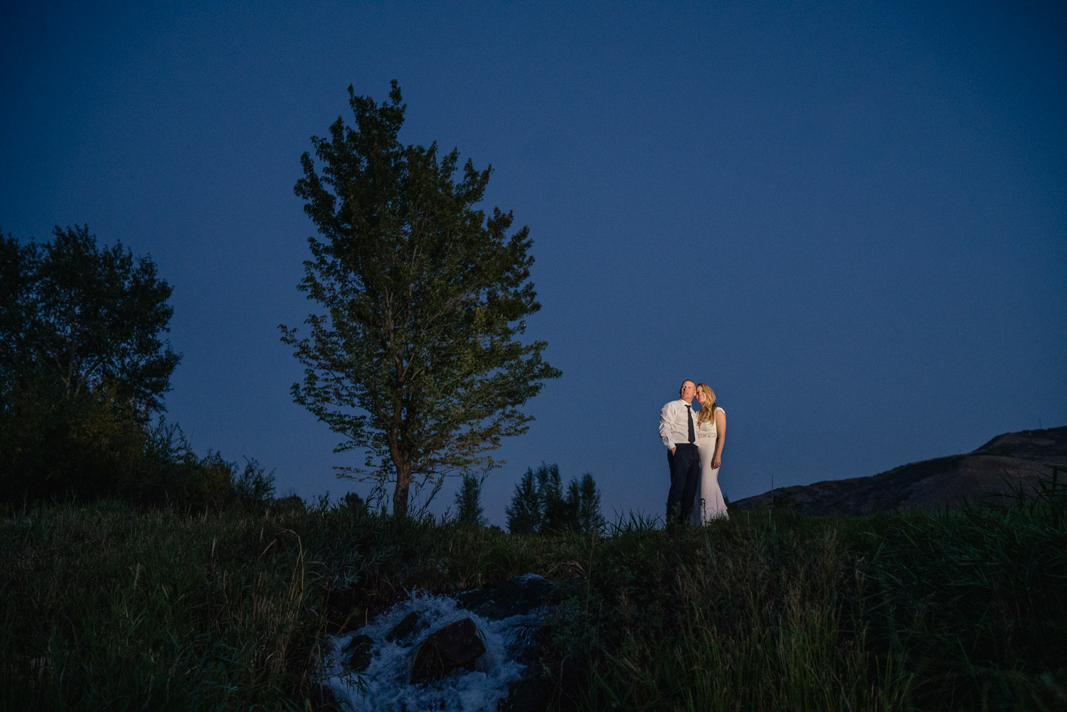 bride and groom happy under night sky with tree