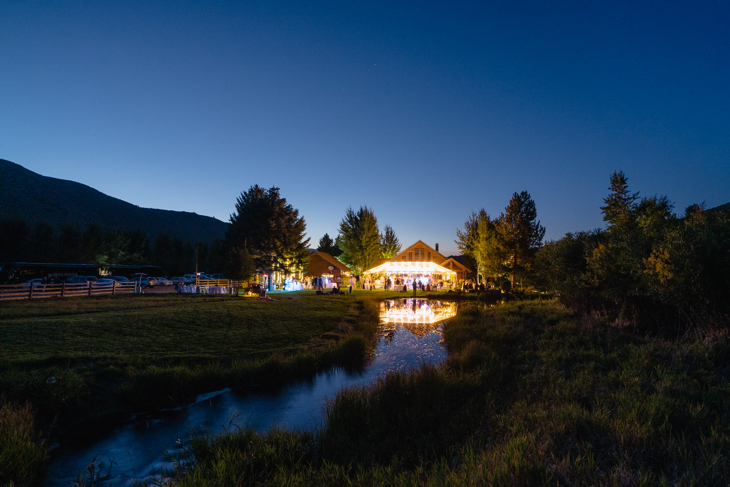 Elegant Backyard Wedding in Park City night