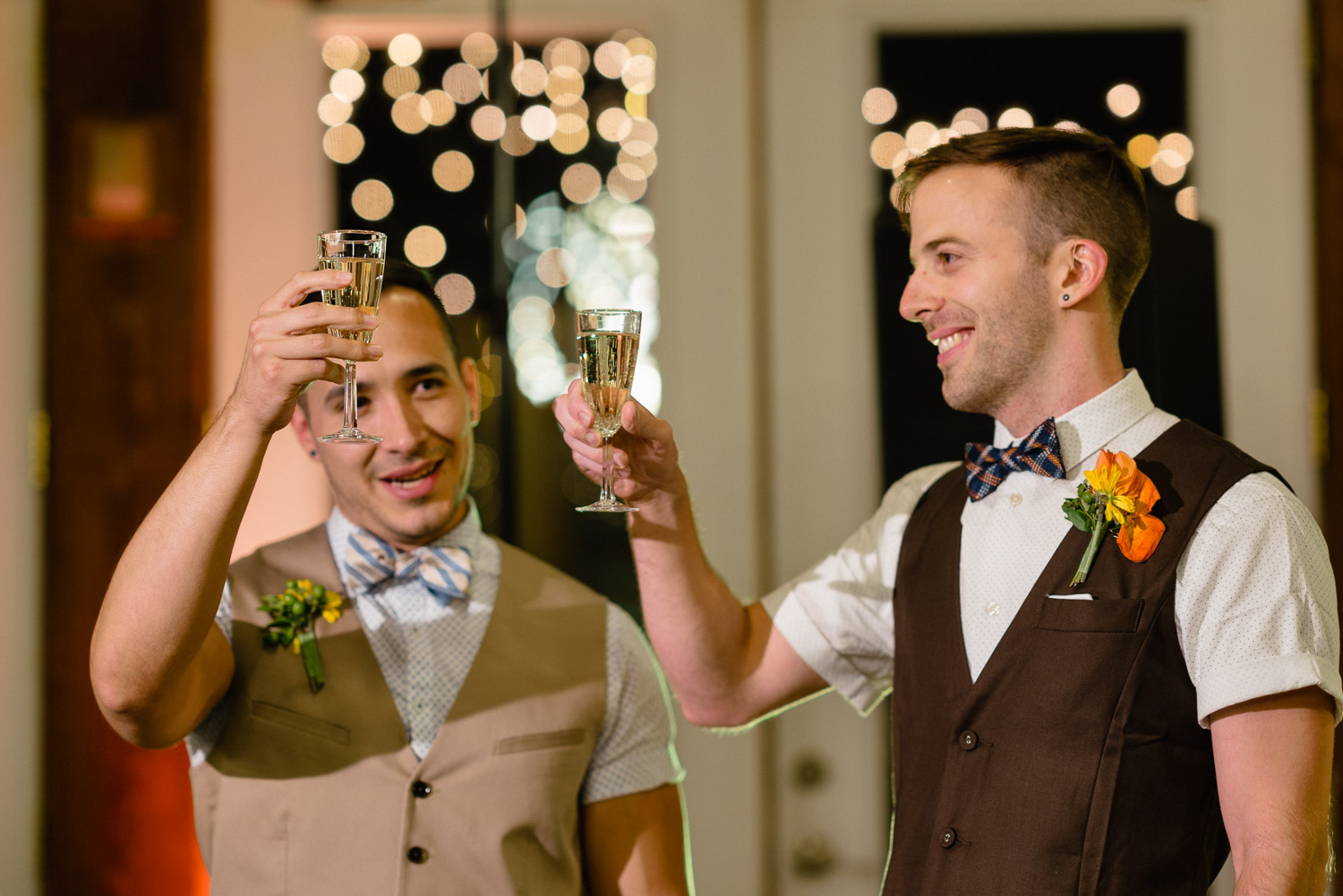 grooms cheers champage louland falls wedding