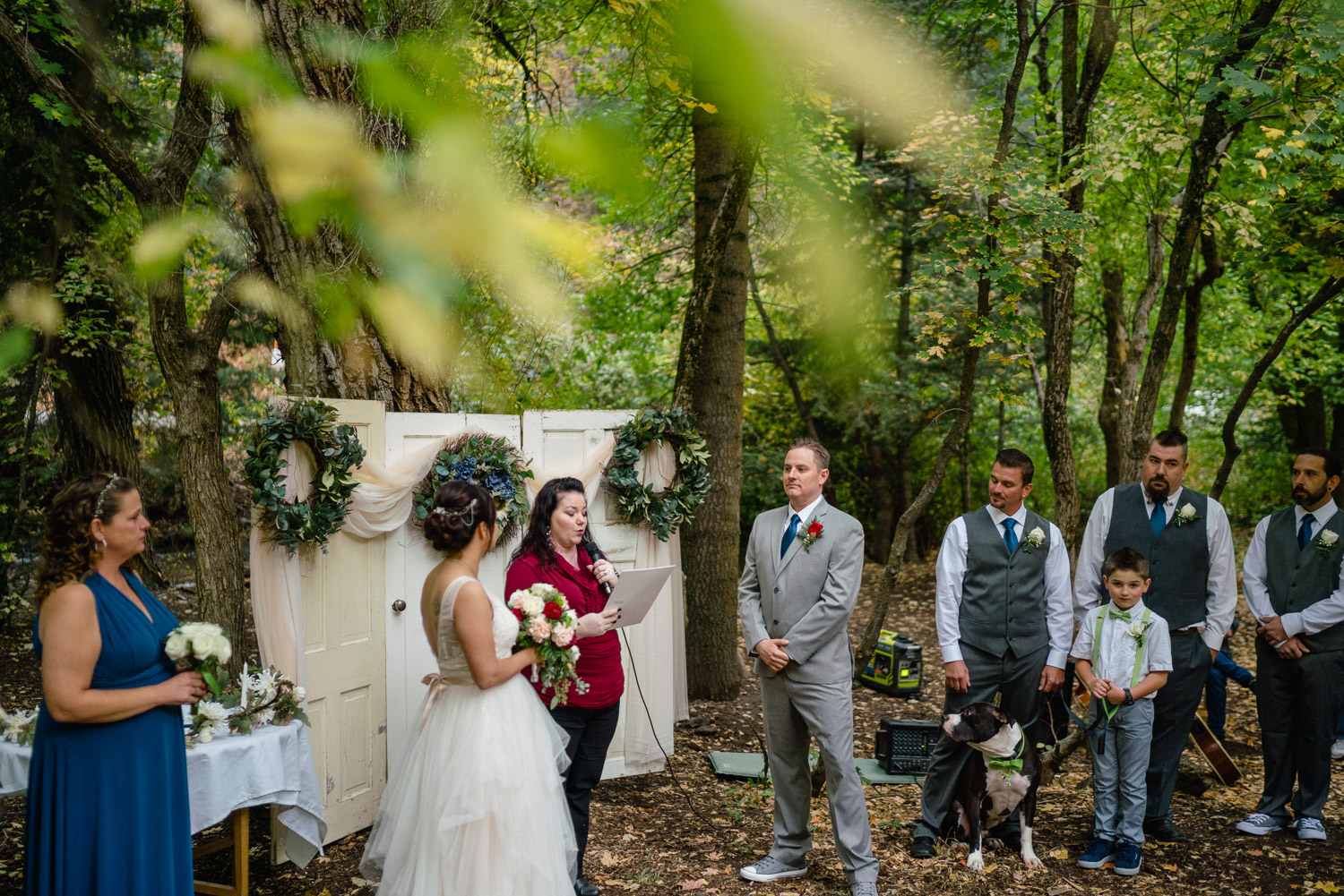 wedding party at outdoor altar millcreek canyon