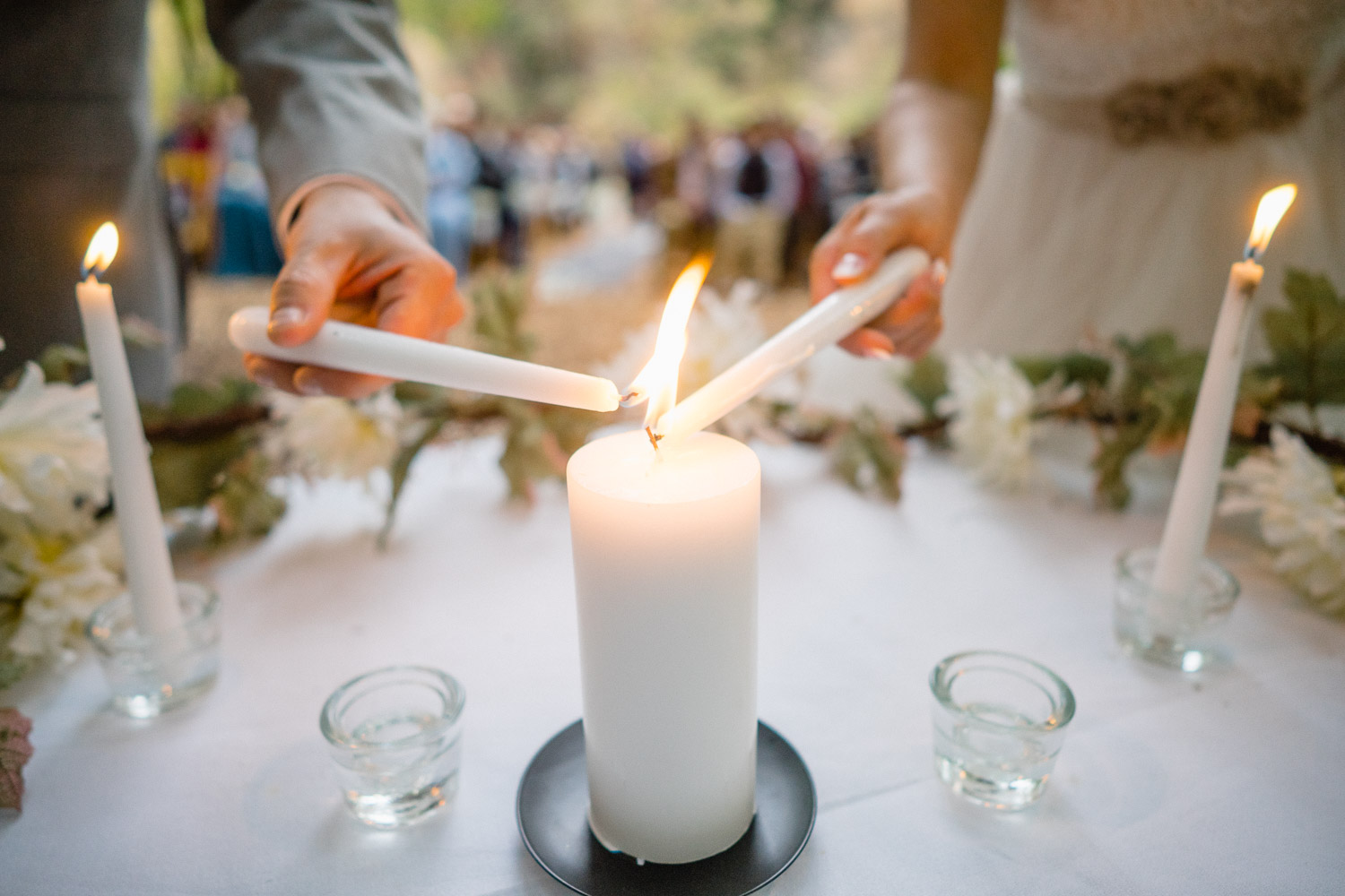 bride and groom candlelight ceremony millcreek canyon wedding