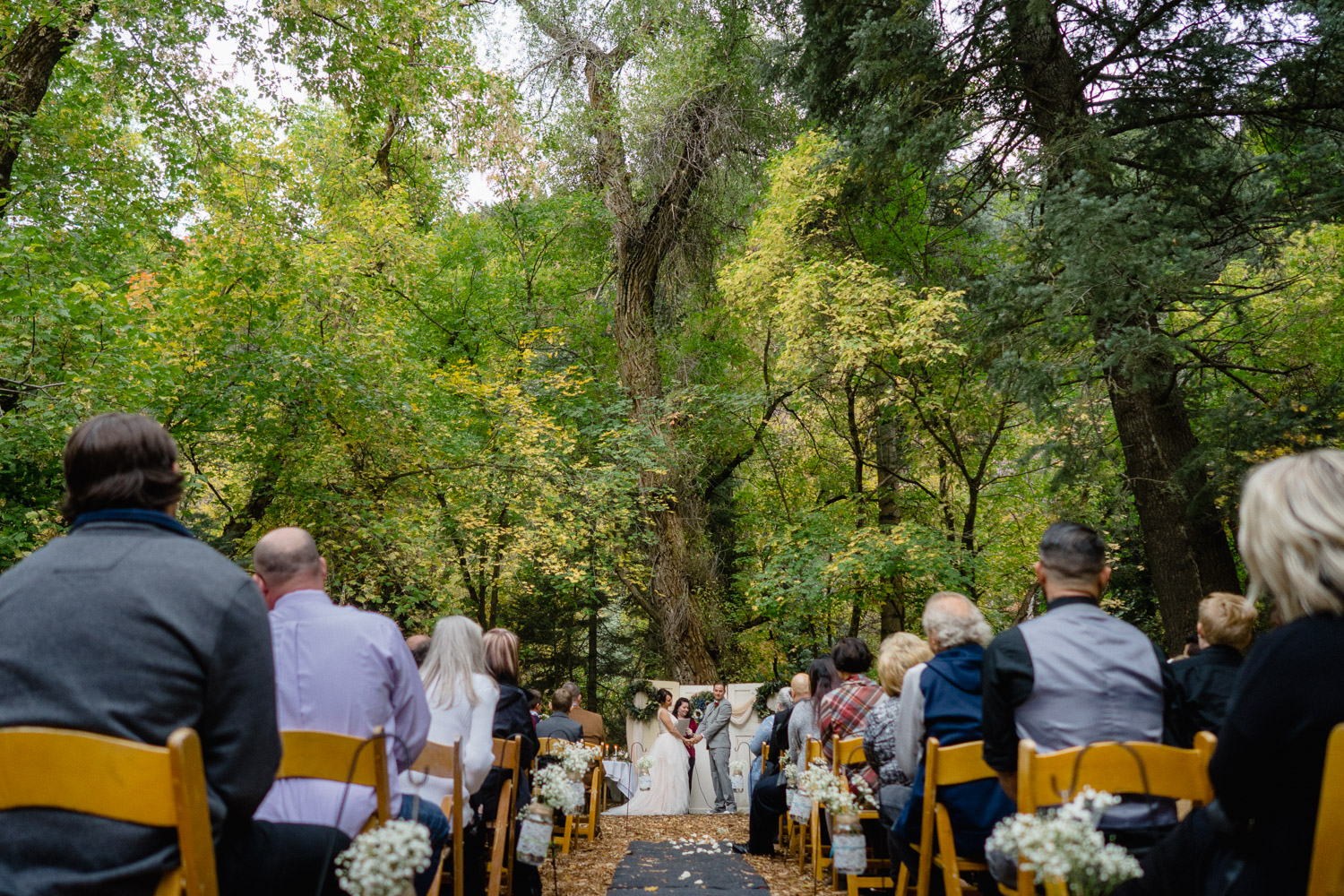 wedding guests and bride and groom at outdoor altar millcreek canyon