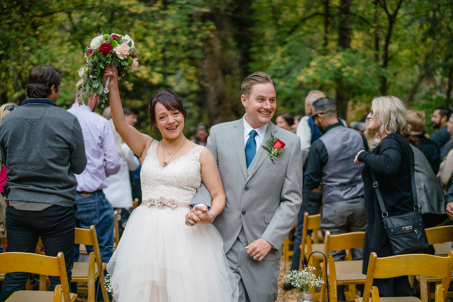 bride and groom wedding recessional millcreek canyon