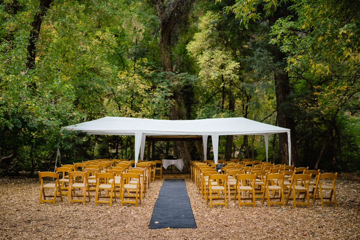 outdoor ceremony set up millcreek canyon wedding fall