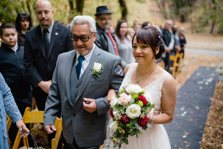 father walking crying bride down outside aisle millcreek canyon
