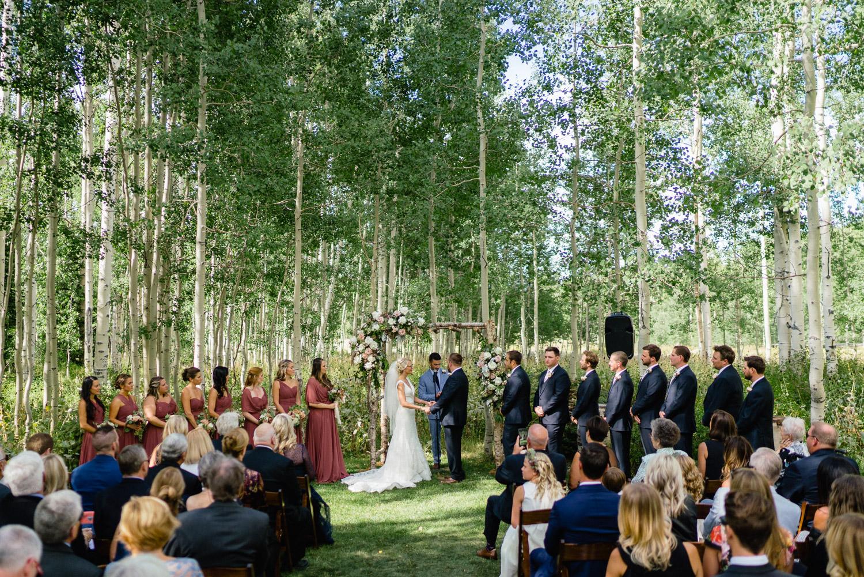 outdoor wedding party park city aspen trees