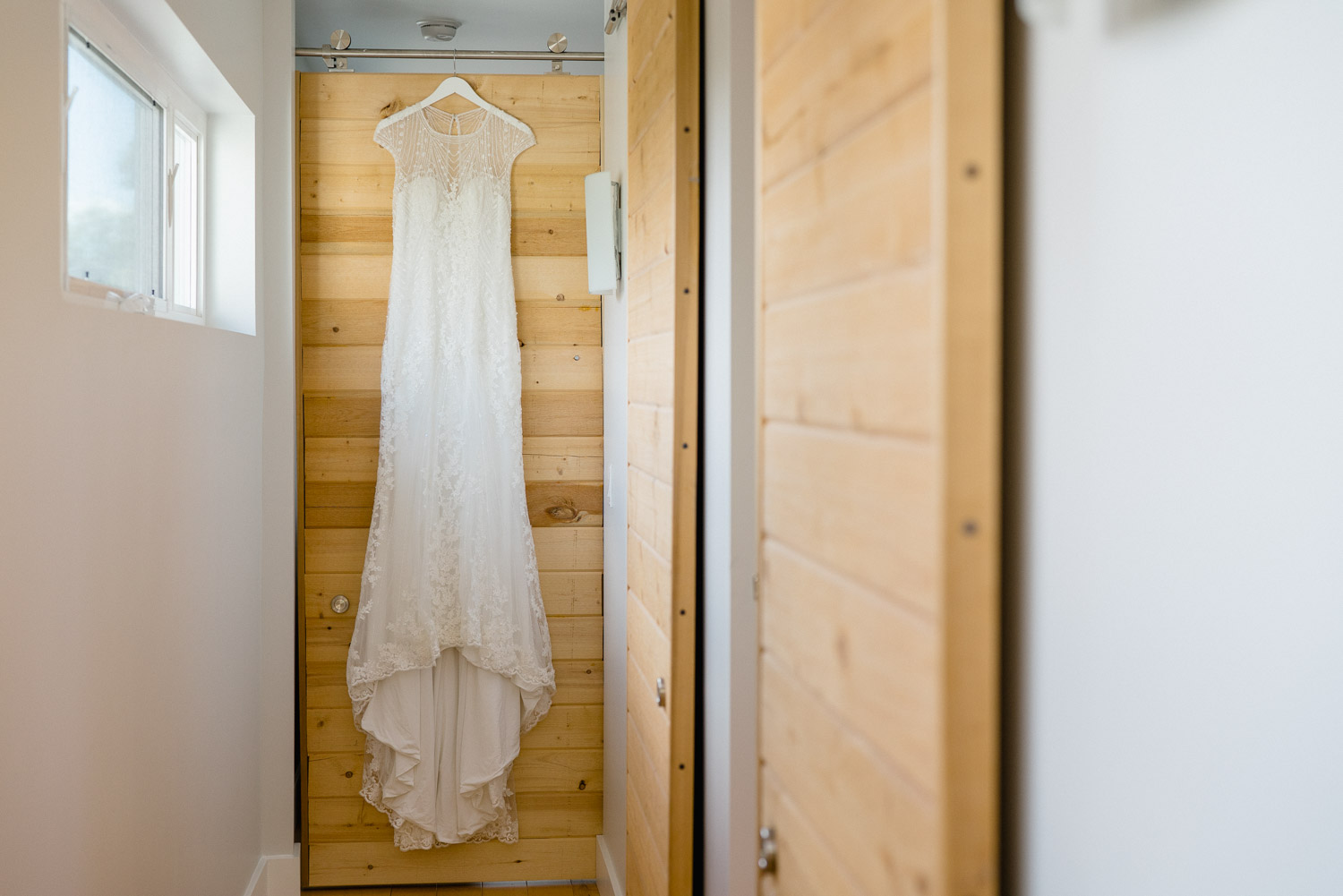 bride dress hanging solitude resort utah wedding