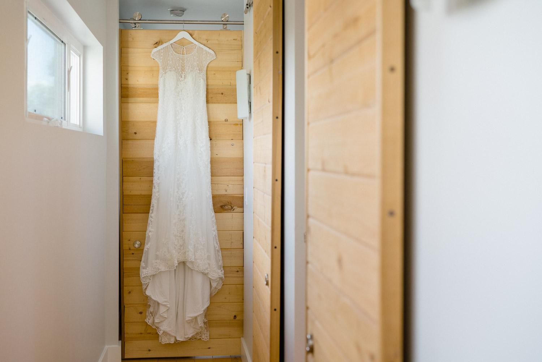 bride dress hanging solitude resort utah wedding