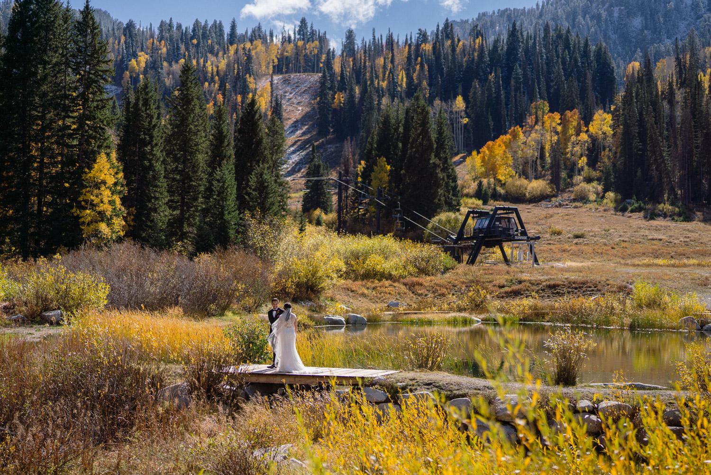 bride and groom outside fall wedding solitude