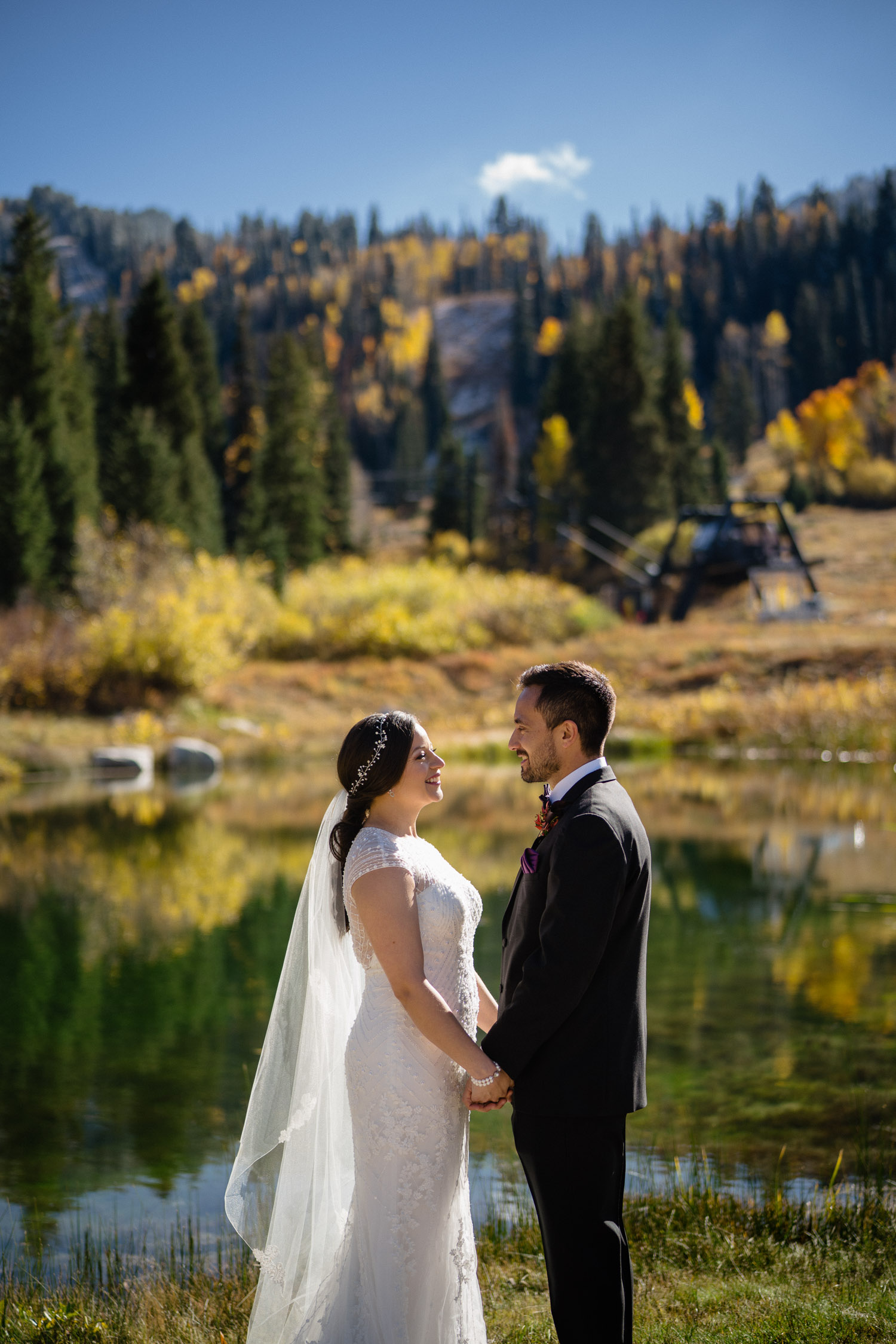 solitude wedding in the fall bride and groom