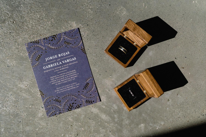 wedding invitation and rings solitude resort utah wedding