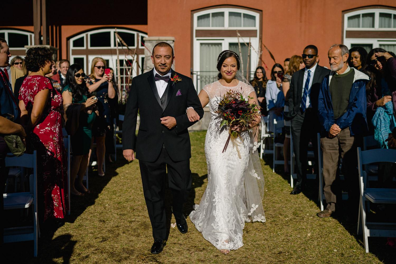 father walking bride down aisle fall wedding solitude resort