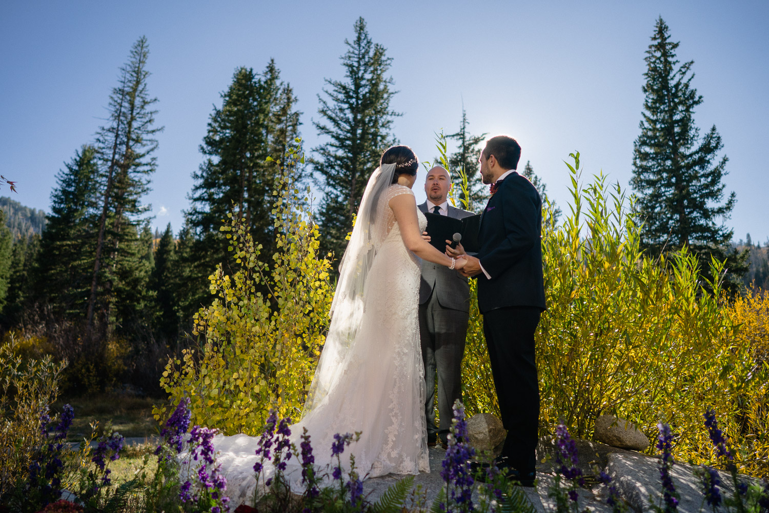 officiant bride and groom outdoor fall wedding solitude mountain resort
