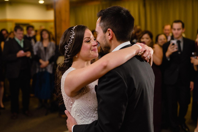 bride joyful tears looking at groom while dancing reception solitude resort fall wedding