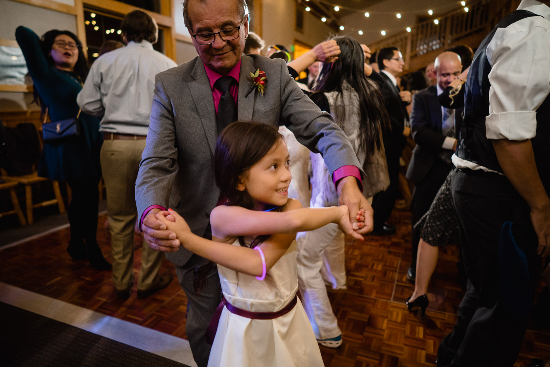 man and girl dance at wedding reception solitude mountain resort