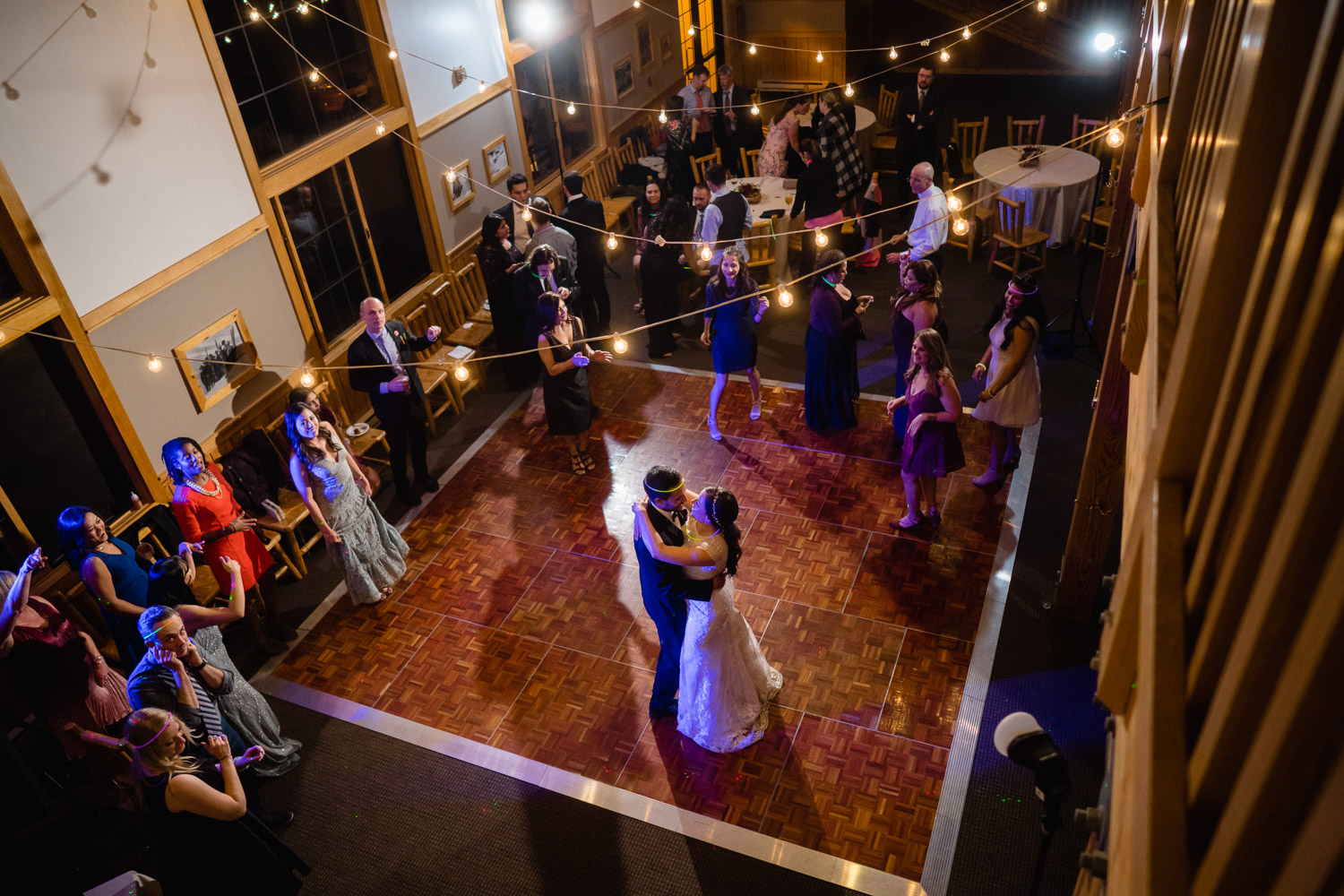 overview of bride and groom dancing solitude fall wedding