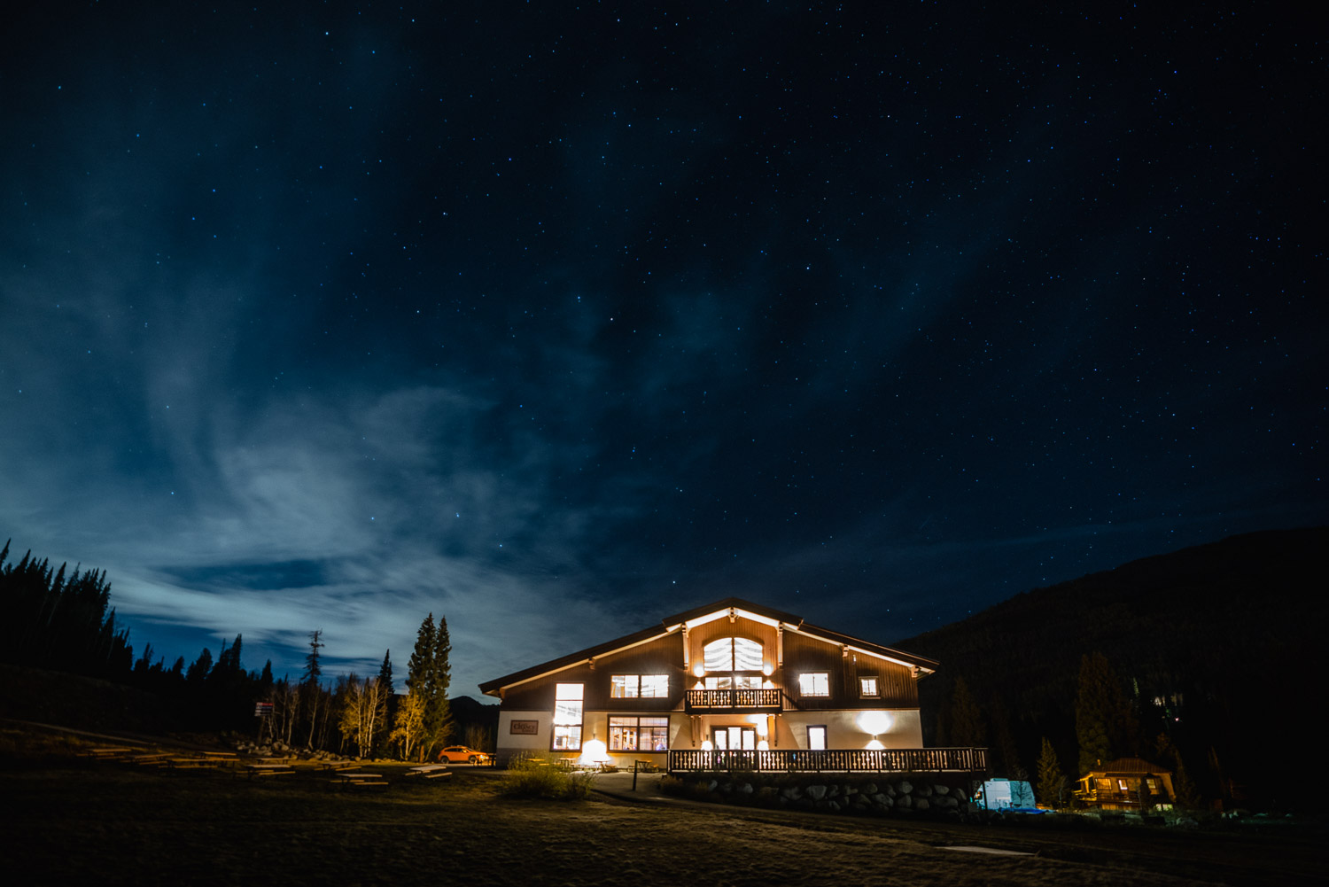 solitude lodge at night fall wedding