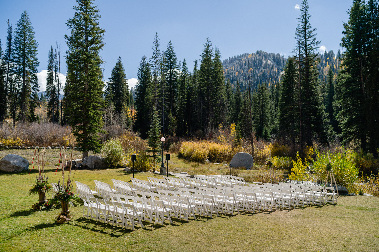 wedding ceremony chairs fall sun solitude resort